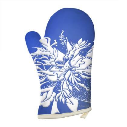 Oven Glove - Grytvante - White ink blue
