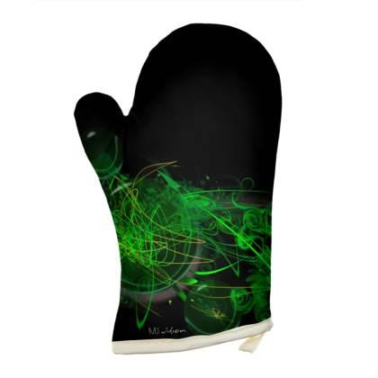 Oven Glove - Grytvante - Green Caos black