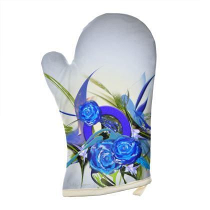 Oven Glove - Grytvante - Blue flower grey