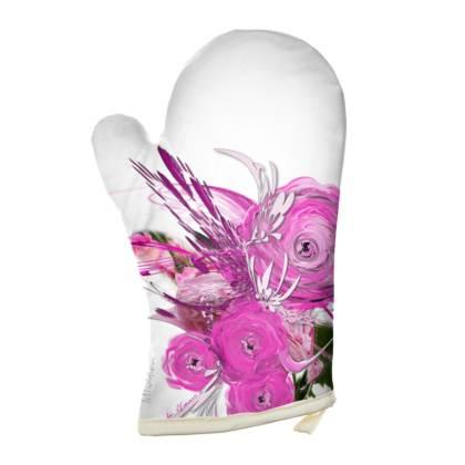 Oven Glove - Grytvante - Pink summer fantasy white