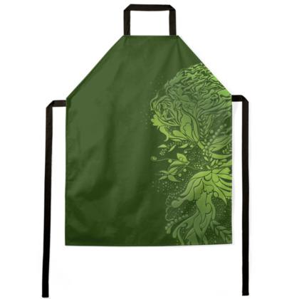 Apron - Förkläde - Green ink flower
