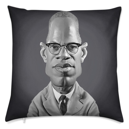 Malcolm X Celebrity Caricature Cushion