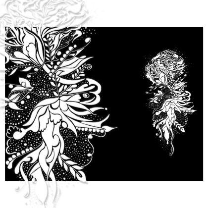 Handbag - Handväska - White Ink flower black