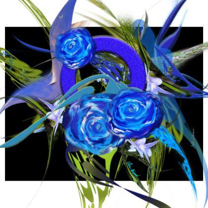 Handbag - Handväsk - Blue flower black