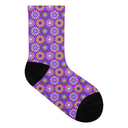 Socks Purple Floral Pattern