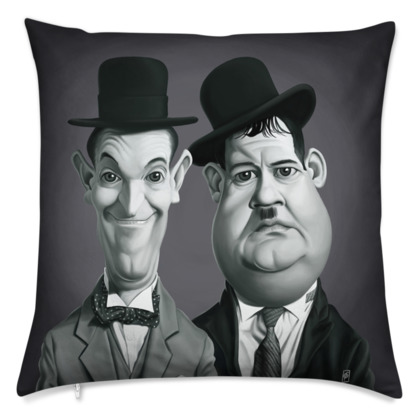 Laurel and Hardy Celebrity Caricature Cushion