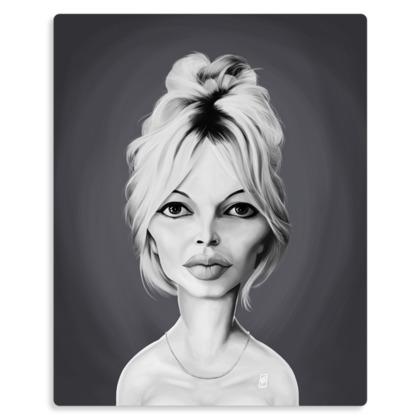 Brigitte Bardot Celebrity Caricature Metal Print