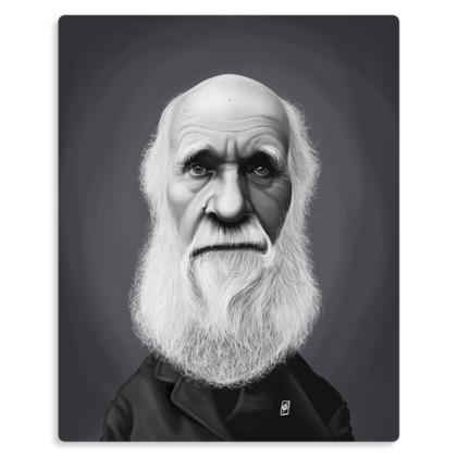 Charles Darwin Celebrity Caricature Metal Print