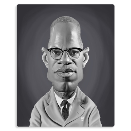 Malcolm X Celebrity Caricature Metal Print