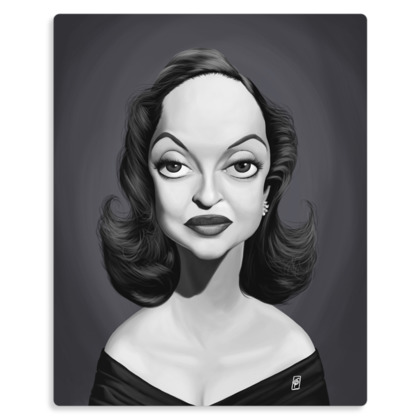 Bette Davis Celebrity Caricature Metal Print
