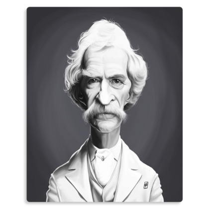 Mark Twain Celebrity Caricature Metal Print