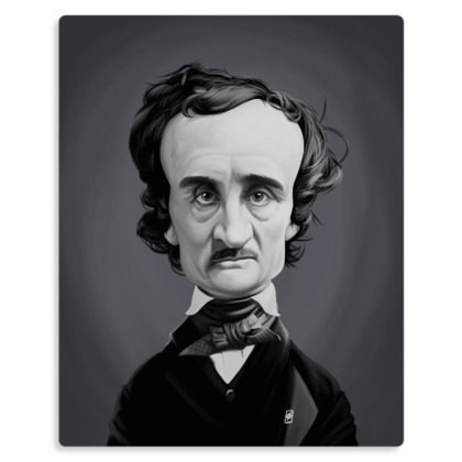 Edgar Allan Poe Celebrity Caricature Metal Print