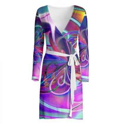Wrap Dress Purple Flower