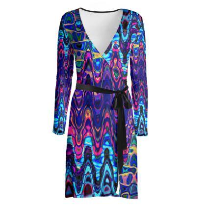 Wrap Dress Purple Splashes
