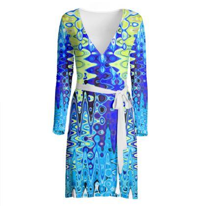 Wrap Dress Blue Lame Splashes