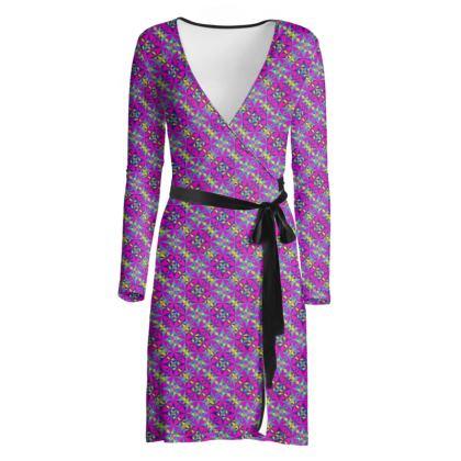 Wrap Dress Purple Pattern