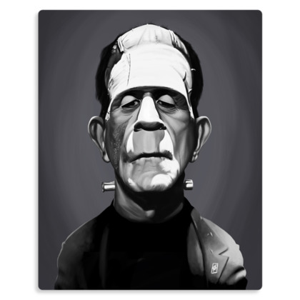 Boris Karloff Celebrity Caricature Metal Print