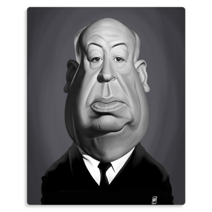 Alfred Hitchcock Celebrity Caricature Metal Print
