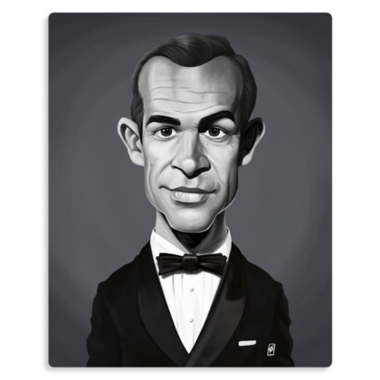Sean Connery Celebrity Caricature Metal Print