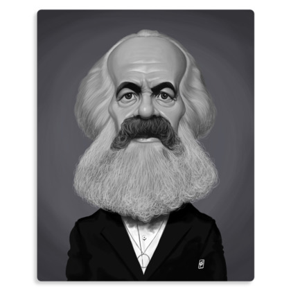 Karl Marx Celebrity Caricature Metal Print