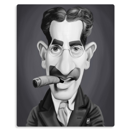 Groucho Marx Celebrity Caricature Metal Print