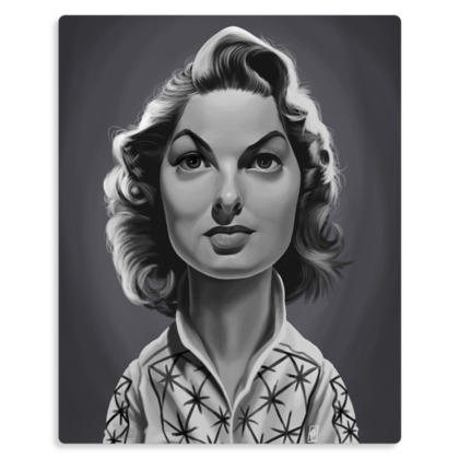Ingrid Bergman Celebrity Caricature Metal Print