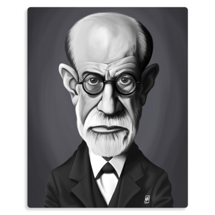Sigmund Freud Celebrity Caricature Metal Print