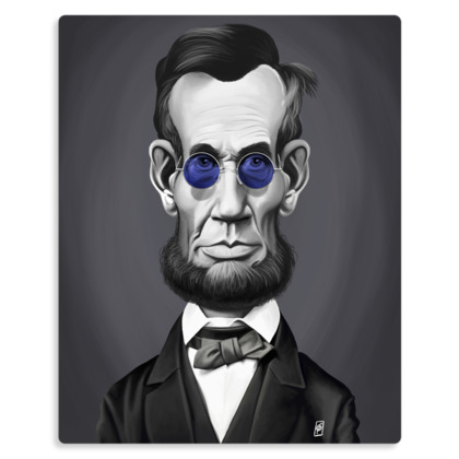 Abraham Lincoln Steampunk Celebrity Caricature Metal Print