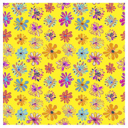 Rainbow Daisies Collection on yellow Christmas Stocking