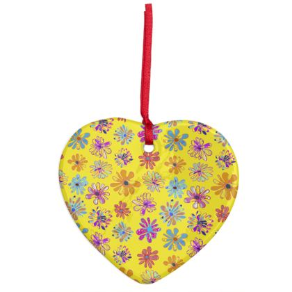 Rainbow Daisies Collection on yellow Christmas Ornaments