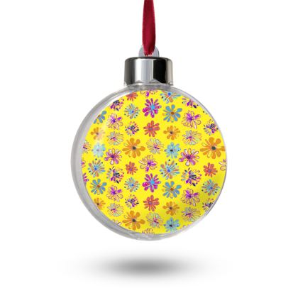 Rainbow Daisies Collection on yellow Bauble