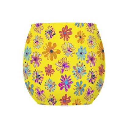 Rainbow Daisies Collection on yellow Glass Tealight Holder