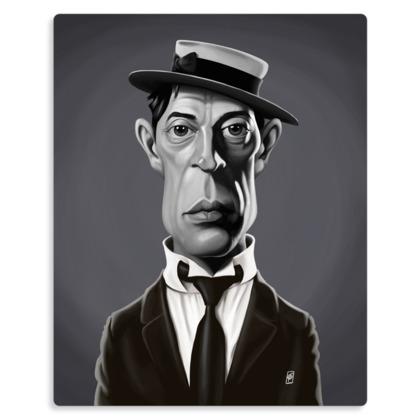 Buster Keaton Celebrity Caricature Metal Print