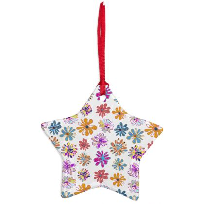 Rainbow Daisies Collection Christmas Ornaments