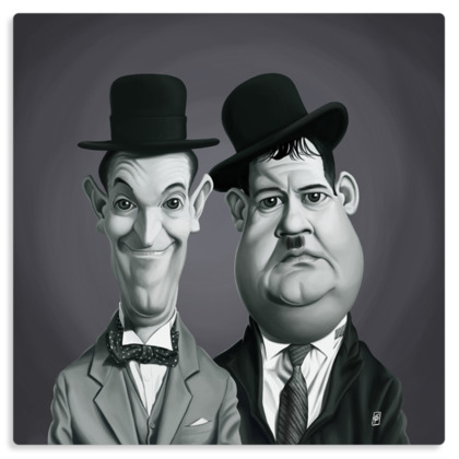 Laurel and Hardy Celebrity Caricature Metal Print