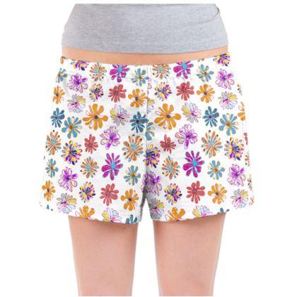 Rainbow Daisies Collection Ladies Pyjama Shorts