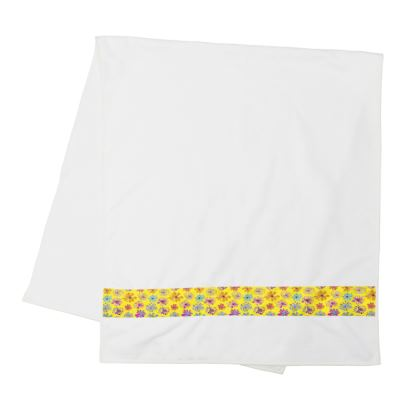 Rainbow Daisies Collection on yellow Strip Towels