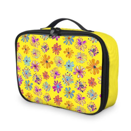 Rainbow Daisies Collection on yellow Lunch Bags