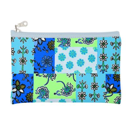 Blue Patchwork Pencil Case