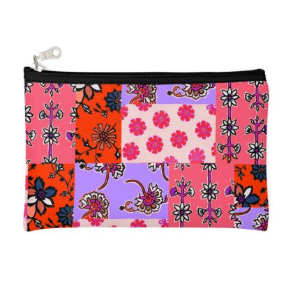 Coral Patchwork Pencil Case