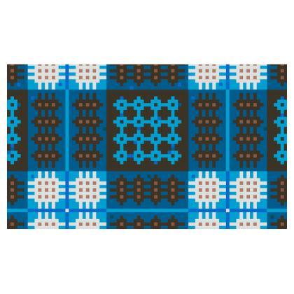Blue Welsh Tapestry Christmas Stocking - Hosan 'Dolig Brethyn Cymreig mewn glas