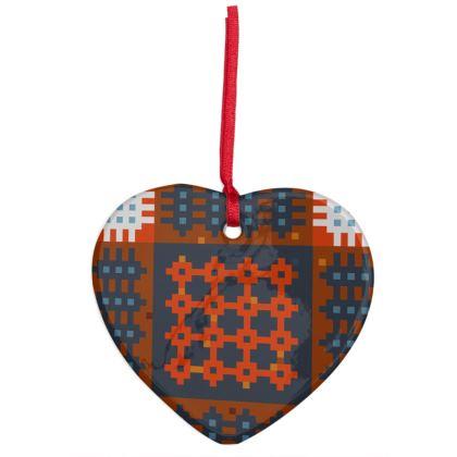Welsh Tapestry Christmas decoration heart - Addurn Dolig brethyn Cymreig siap calon