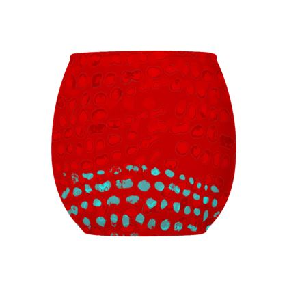 Textural Collection in red and turquoise Glass Tealight Holder
