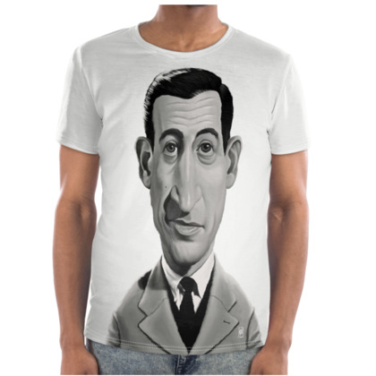 J.D.Salinger Celebrity Caricature Cut and Sew T Shirt