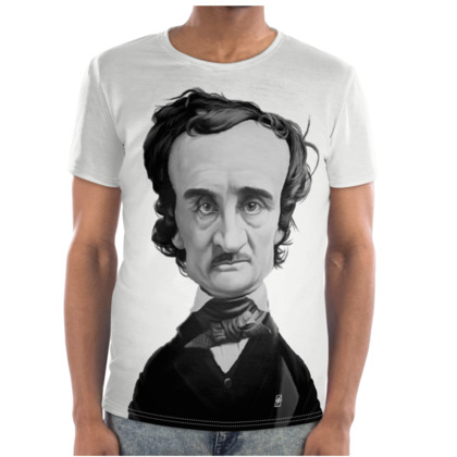 Edgar Allan Poe Celebrity Caricature Cut and Sew T Shirt