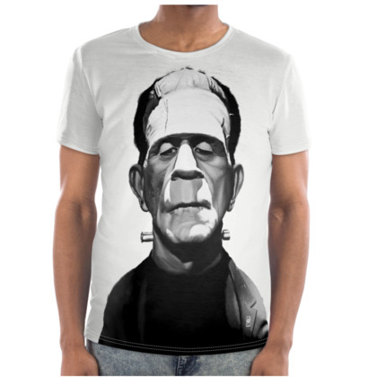 Boris Karloff Celebrity Caricature Cut and Sew T Shirt