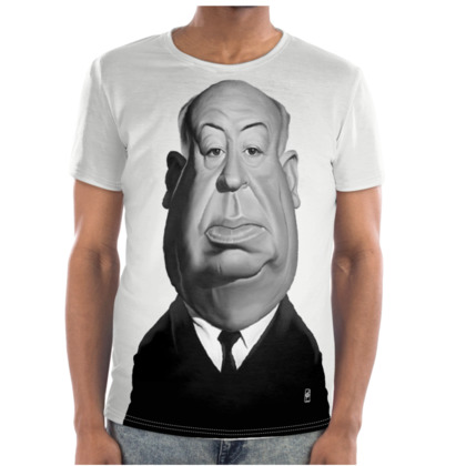 Alfred Hitchcock Celebrity Caricature Cut and Sew T Shirt