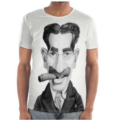 Groucho Marx Celebrity Caricature Cut and Sew T Shirt