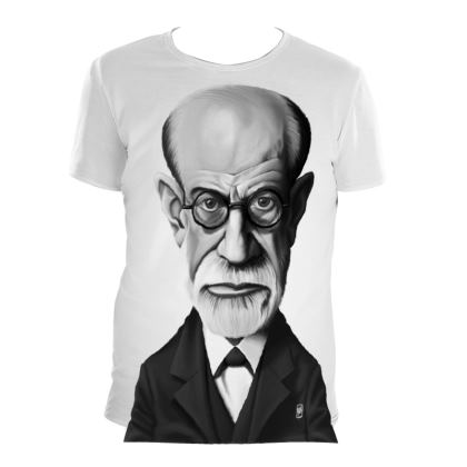 Sigmund Freud Celebrity Caricature Cut and Sew T Shirt