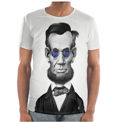 Abraham Lincoln Steampunk Celebrity Caricature Cut and Sew T Shirt